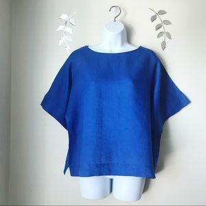 Chico's Linen Top Oversized  Boxy Medium Blue